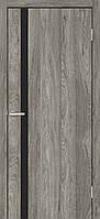 Двери межкомнатные Омис Сити с черным стеклом экошпом, цвет дуб денвер