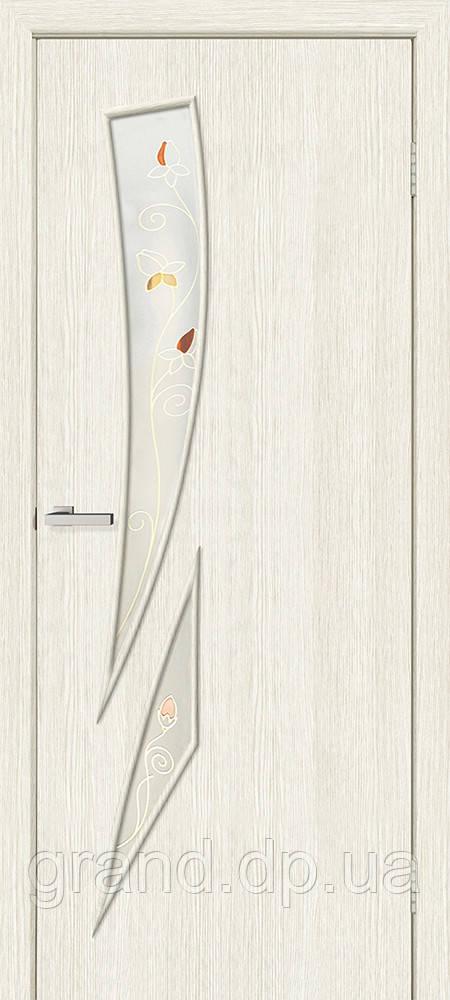Двери межкомнатные Омис Фиеста СС+КР экошпон остекленая с рисунком, цвет сосна сицилия