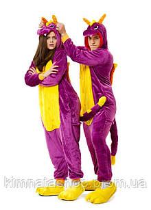 Кигуруми Дракон фиолетовый S
