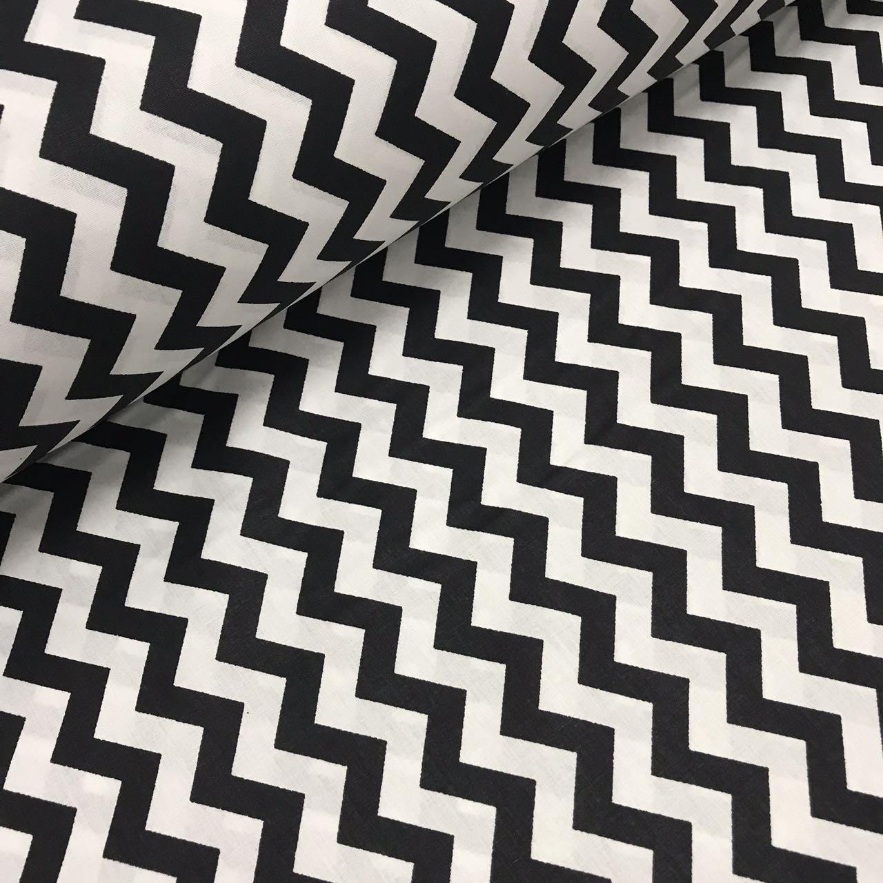 Хлопковая ткань (ТУРЦИЯ шир. 2,4 м) зигзаг черно-белый мелкий