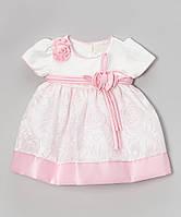 Нарядное платье с повязочкой S Square розовое (6M)