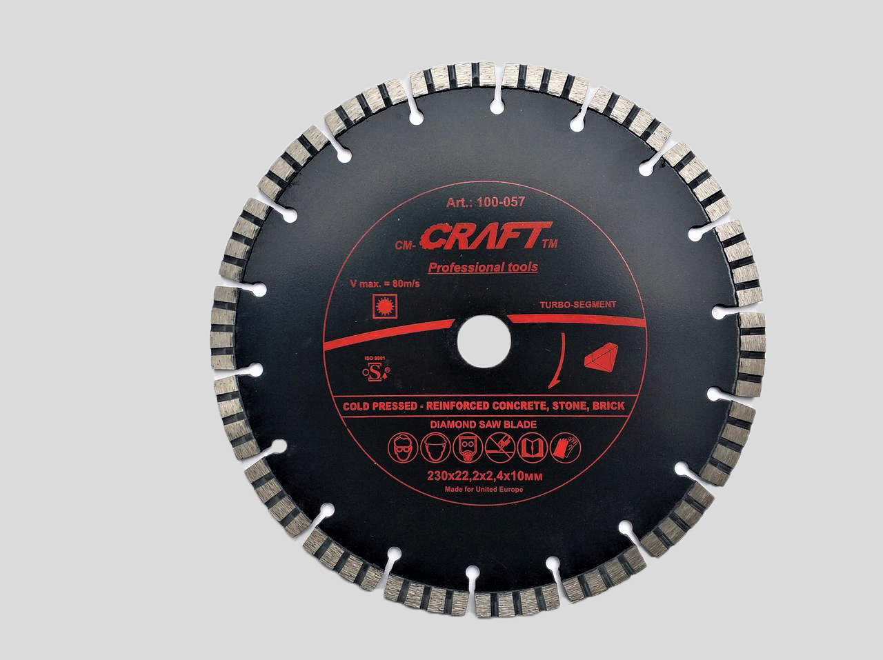 57 Диск алм. Craft  універсальний  turbo segment 230*22.2*2,4*10мм - сухе різання арм.бетону
