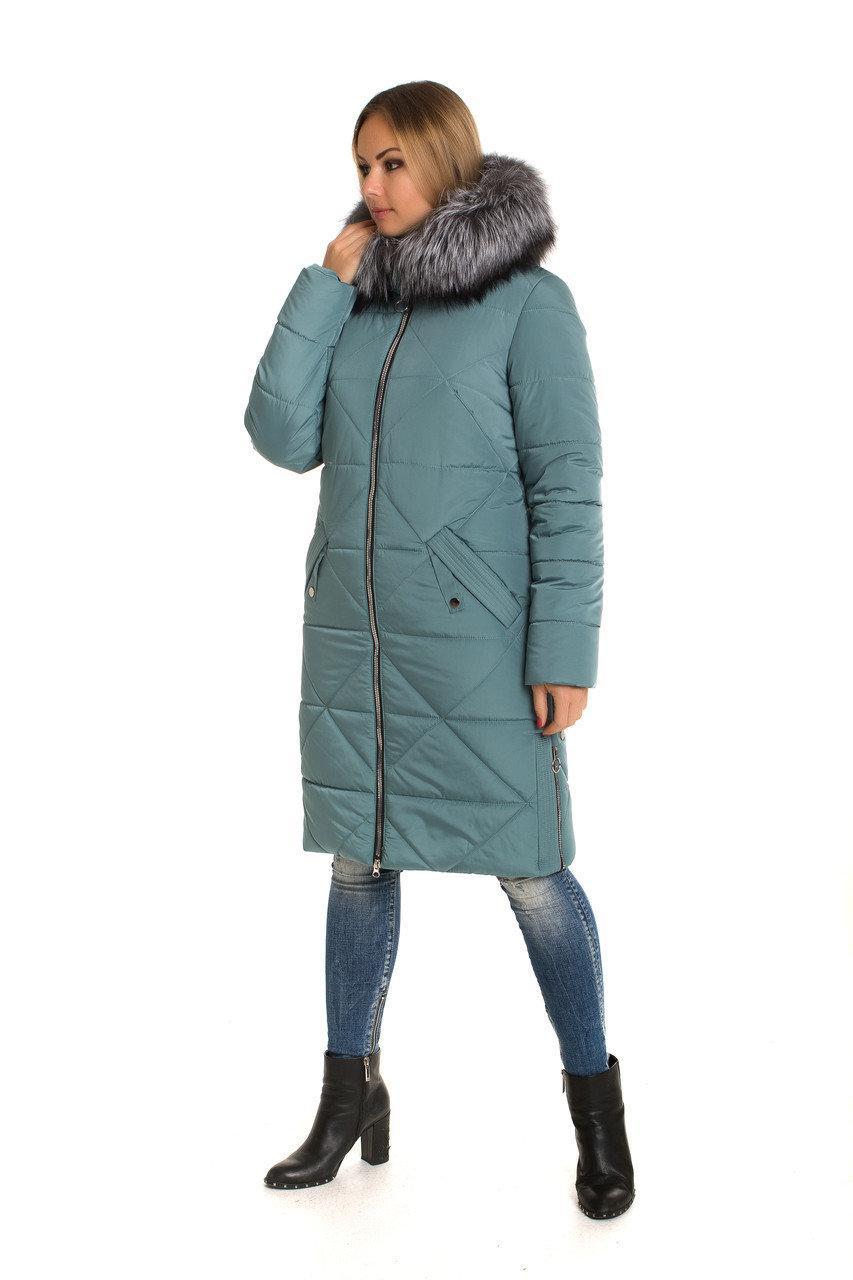 Пальто зимнее женское украина  с мехом 42-60 мята