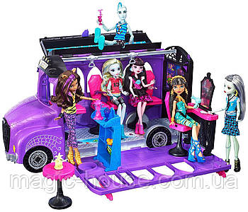 Monster High Школьный автобус и салон Deluxe   Bus and Mobile Salon Toy Playset
