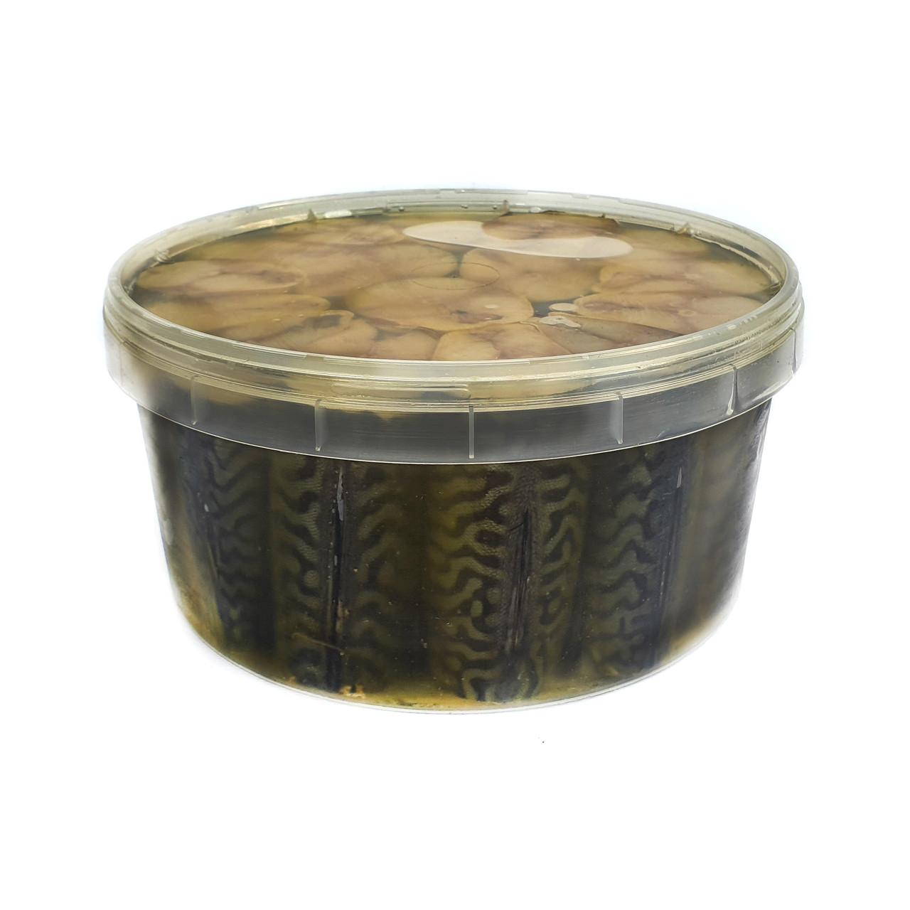 Скумбрия холодного копчения кусочки в масле. Ведро 3 кг