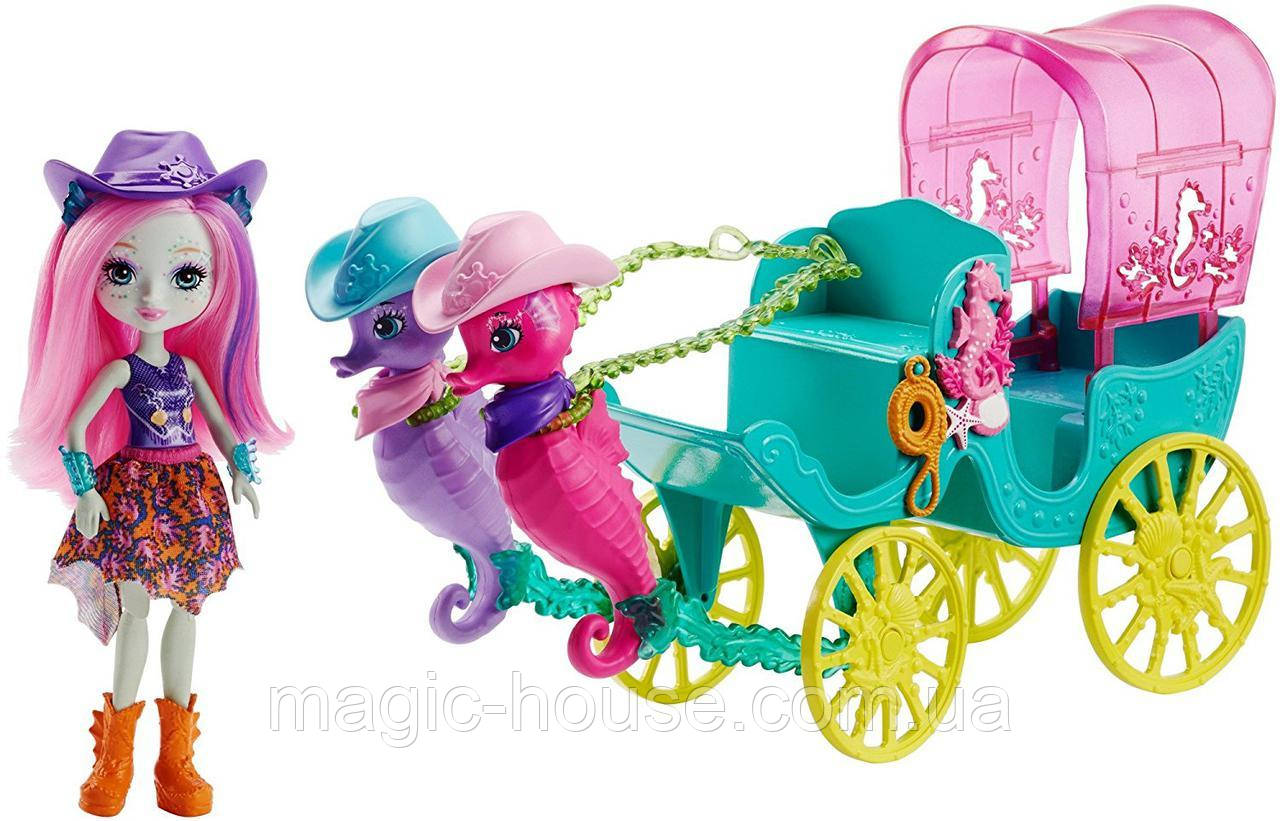 Игровой набор EnchantimalsКарета с морскими коньками Sandella Seahorse, Friends and Western-Styled Coach