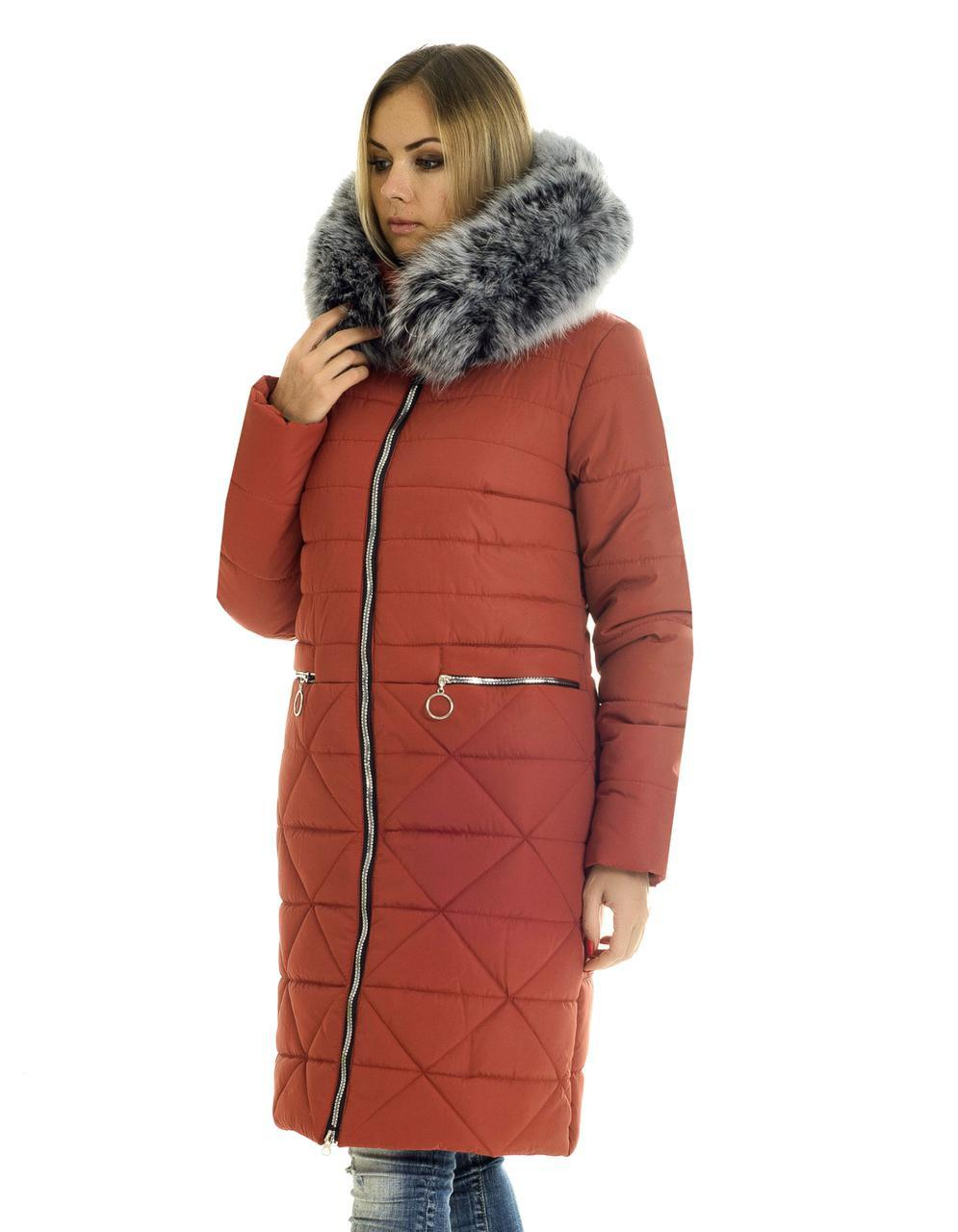 Пальто зимнее женское украина  с мехом  42-56 терракот