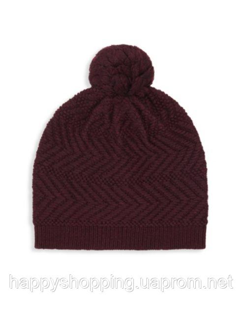 Женская оригинальная бордовая шерстяная  шапка UGG