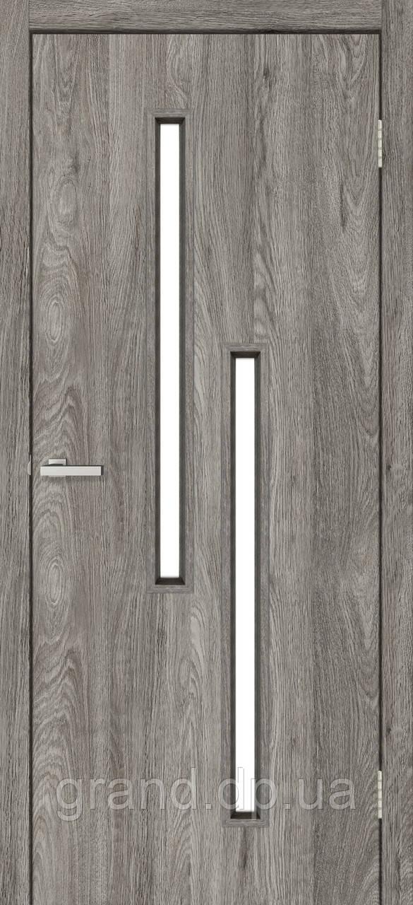 Двери межкомнатные Омис Т 02 со стеклом экошпон, цвет дуб денвер