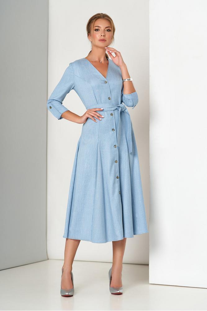Льняное платье с юбкой солнце клеш голубое