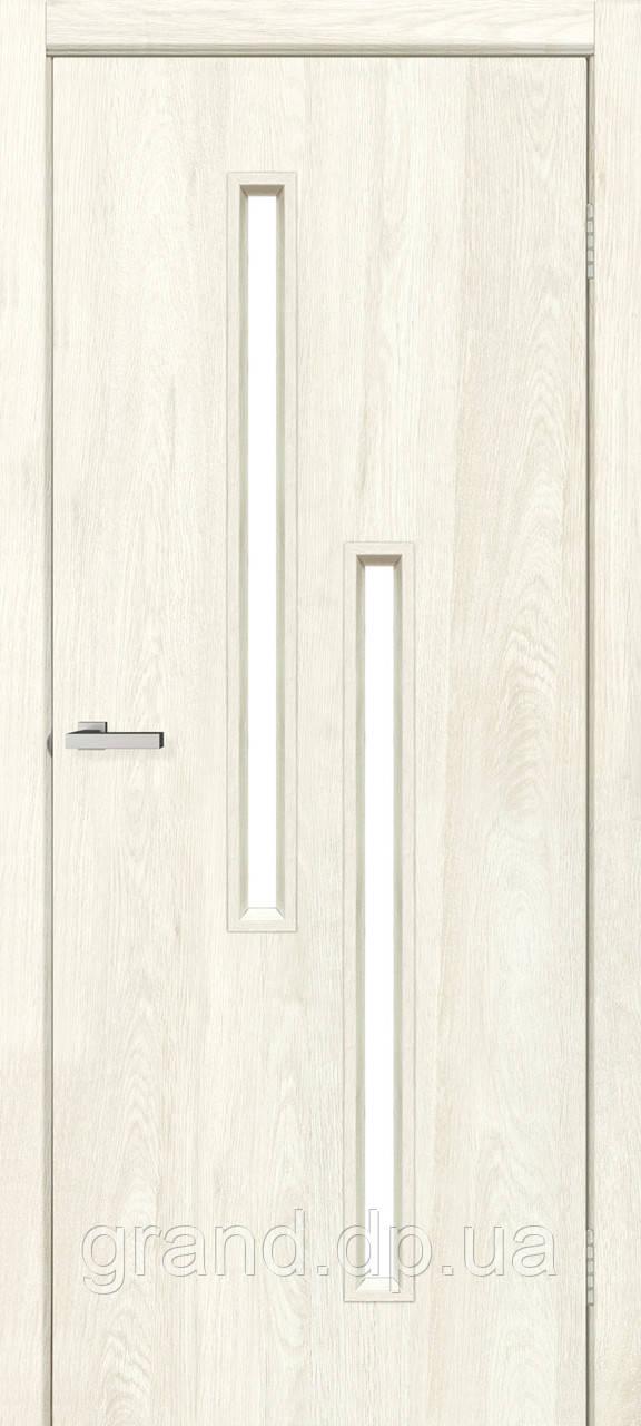 Двери межкомнатные Омис  Т02 с матовым стеклом экошпон, цвет дуб остин
