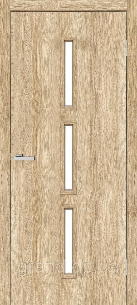 Двери межкомнатные Омис Т 03 со стеклом экошпон, цвет дуб саванна