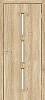 Дверное полотно Омис Т 03 остекленное экошпон, цвет дуб Саванна