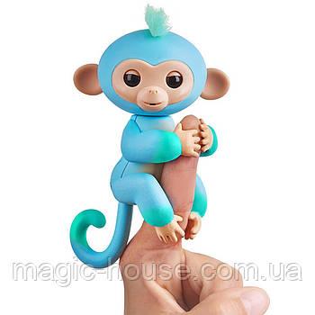 Оригинальная интерактивная ручная обезьянка двухцветная Чарли Голубая Fingerlings 2Tone Monkey Charlie