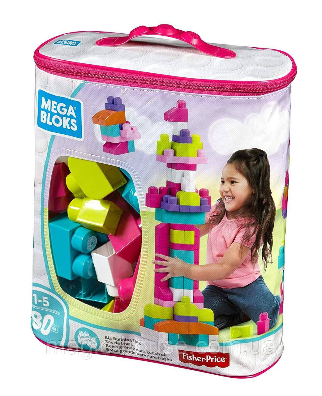 Мега Блокс Конструктор  80 деталей Розовый MEGA BLOKS FIRST BUILDERS BIG