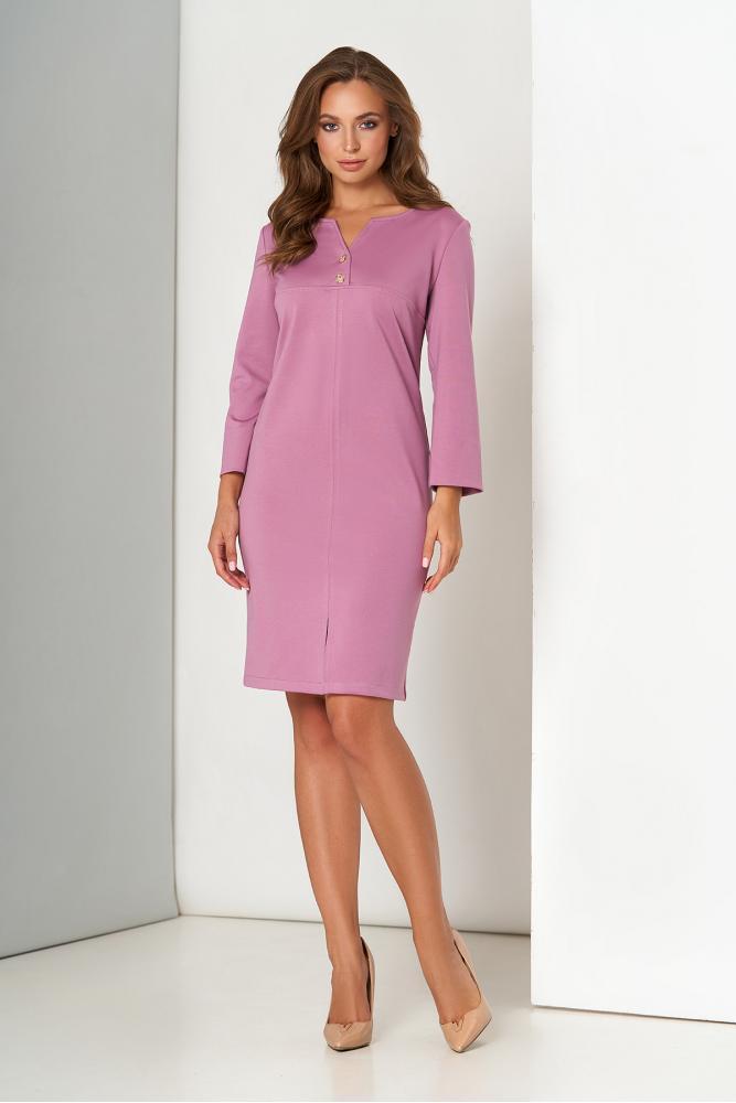 Трикотажное платье миди офисное сиреневого цвета
