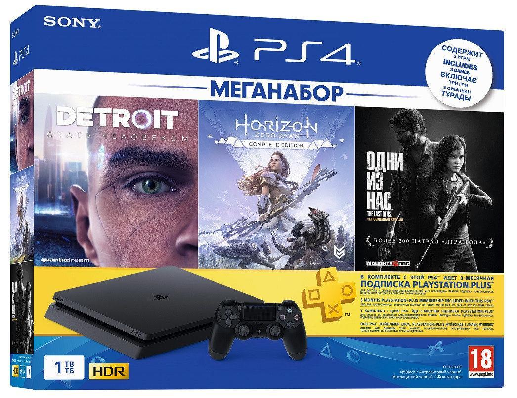 Sony PS4 Slim 1TB У подарунок Detroit + Horizon Zero Dawn Complete Edition + Last of Us Remastered + PSPlus 3M