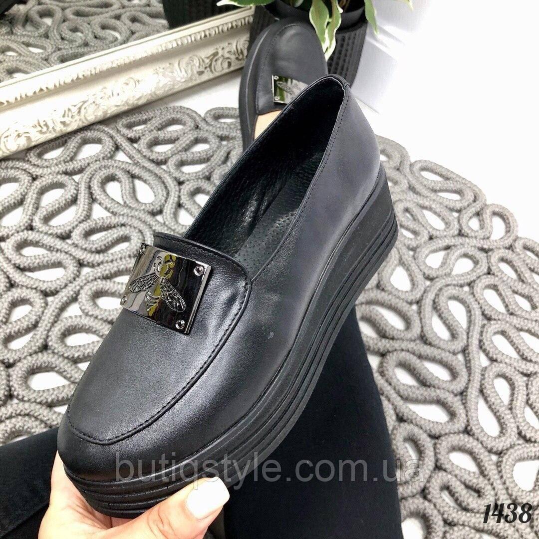 Женские черные туфли на платформе натуральная кожа