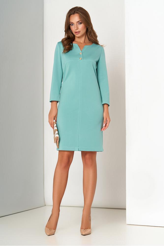 Трикотажное платье миди офисное мятного цвета