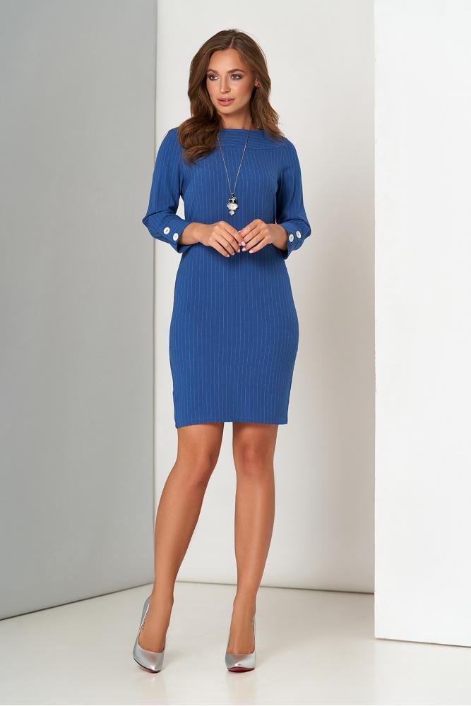 Модное платье мини офисное синего цвета