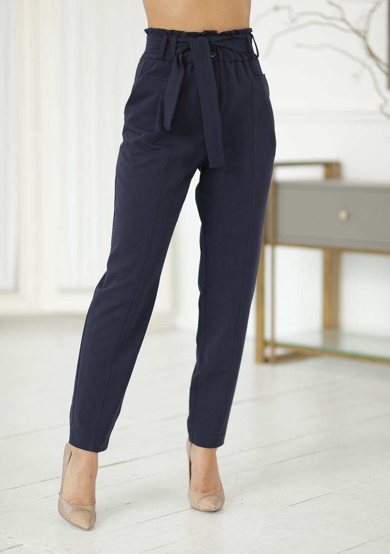 Женские модные брючки с завышенной талией свободного кроя синие,черные 42,44,46р.