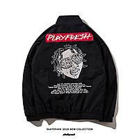 Куртка-ветровка рисунок на спине черная мужская модная крутая спортивная от Skatepark Скейтпарк