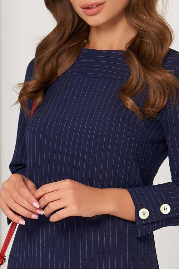 Модное платье мини офисное темно-синего цвета, фото 2