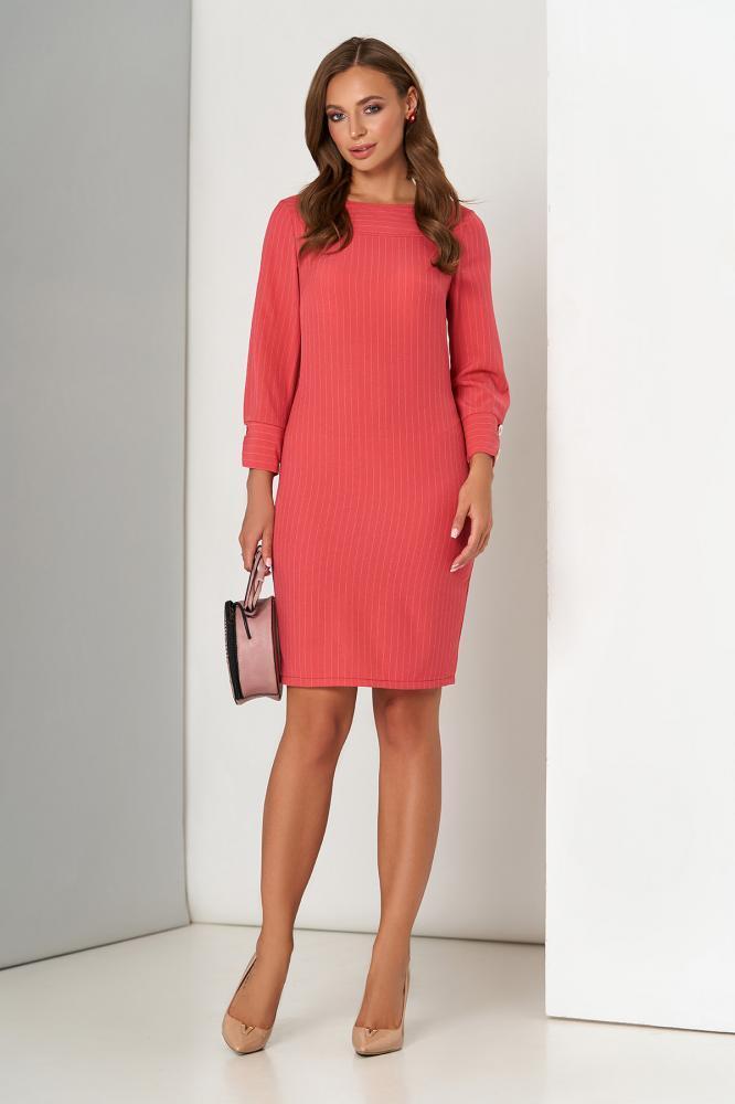 Модное платье мини офисное красного цвета