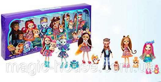 Игровой набор Энчантималс из 6 кукол  с питомцами Enchantimals Natural Friends Collection Doll