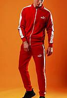 Мужской спортивный костюм в стиле Puma с лампасами красного цвета в наличии