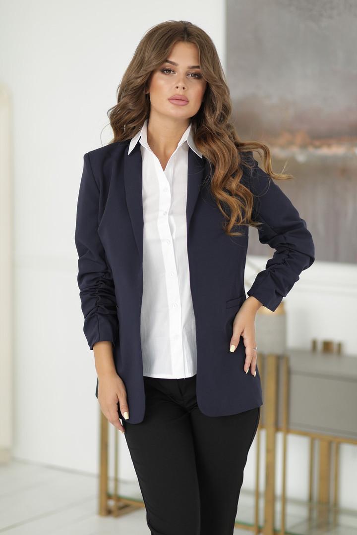 Женский классический-деловой пиджак на подкладке синий,черный(от42до52р.)