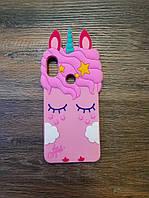 Объемный 3d силиконовый чехол для Xiaomi Redmi 7 Единорог Pony розовый