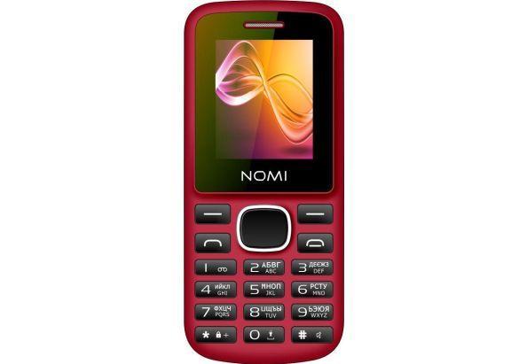 Простой кнопочный мобильный телефон без камеры на 2 сим карты Nomi i188 красный