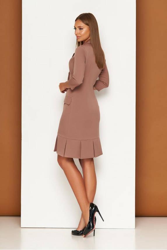 Элегантное платье пиджак в деловом стиле бежевое, фото 2