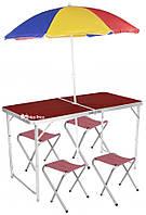 Стол для пикника раскладной со 4 стульями и зонтом Folding Table 120х60х55/60/70 см 3 режима высоты Коричневый