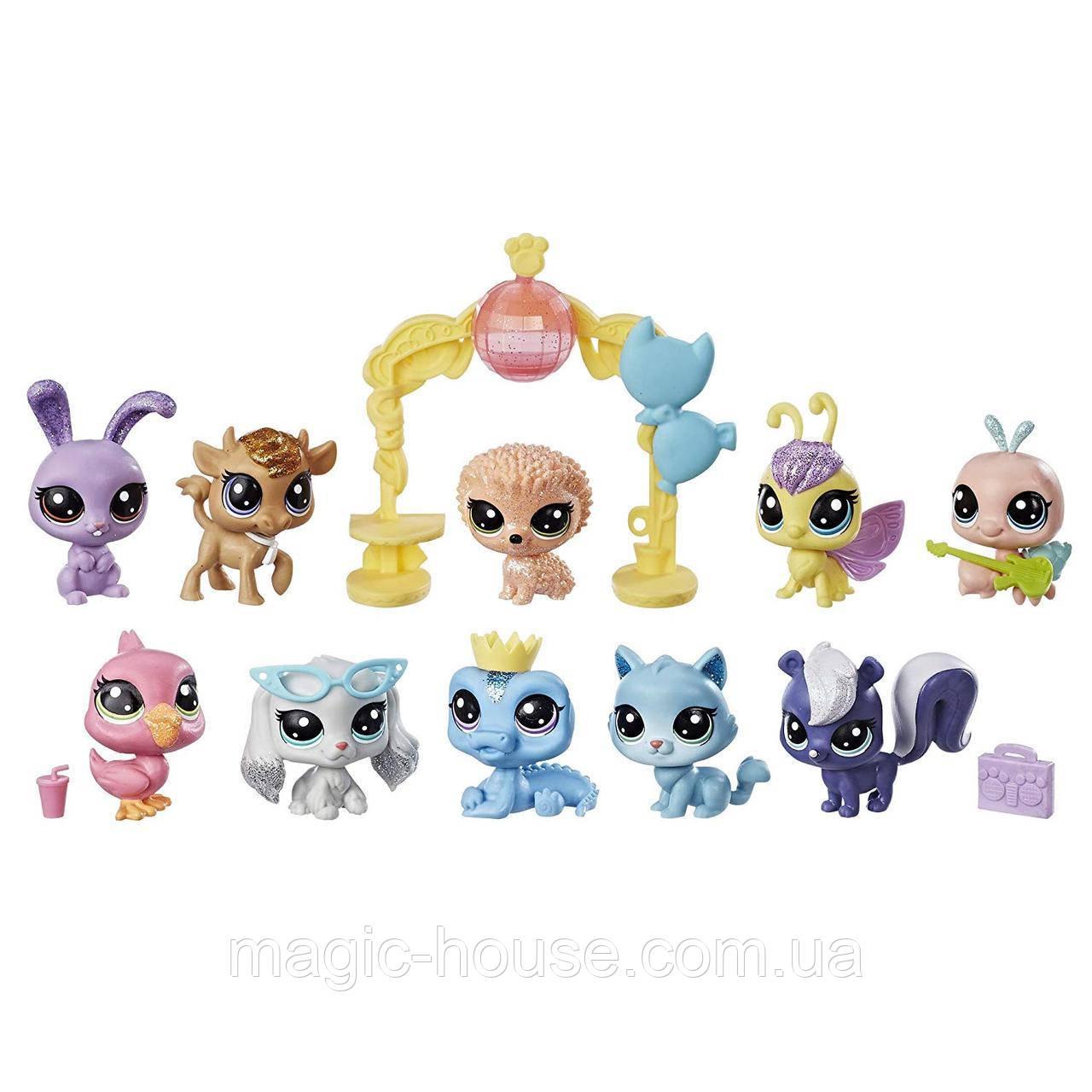 Игровой набор Littlest Pet Shop 10 блестящих домашних животных Sparkle Spectacular Collection