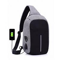 🔥✅ Мужская сумка анти-вор через плечо Bobby Mini с USB-портом для зарядки