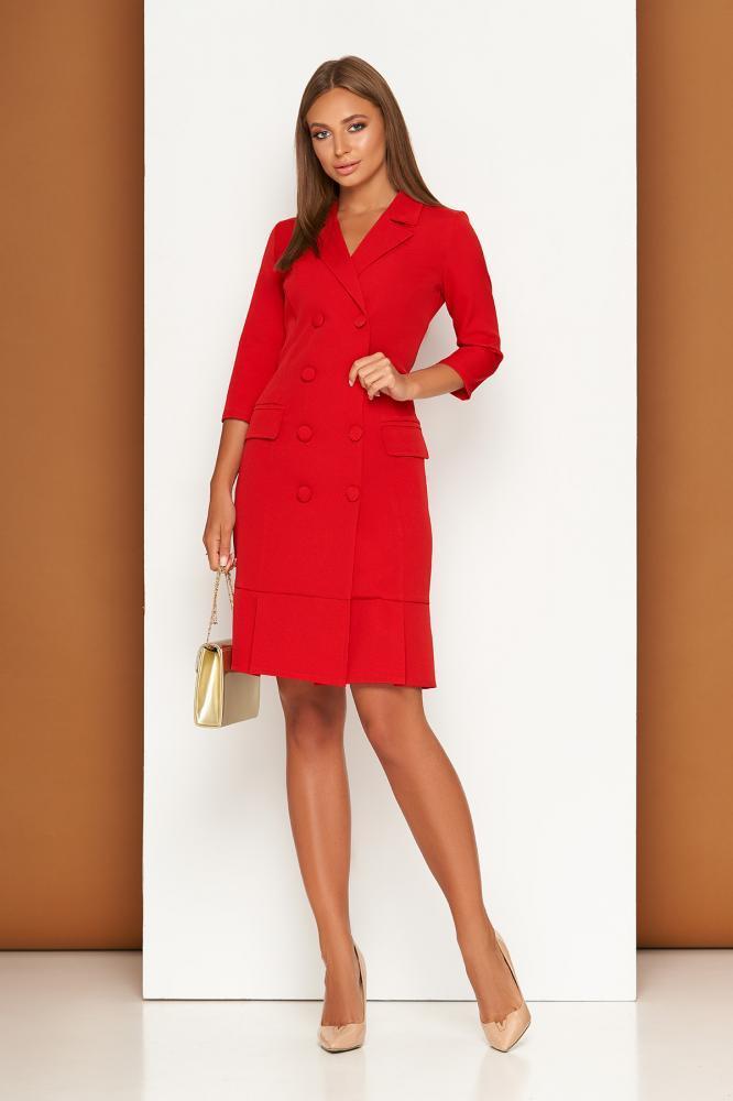Элегантное платье пиджак в деловом стиле красное