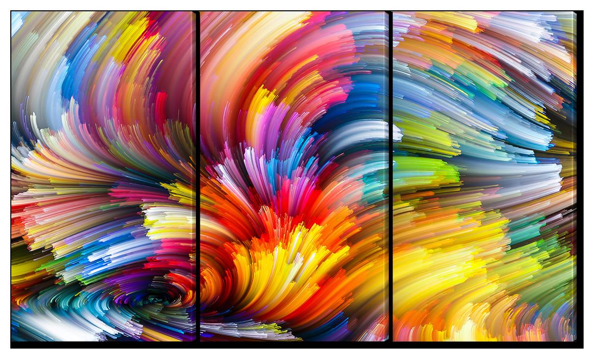 Модульная картина Interno Эко кожа Яркая абстракция  84х47см (A1156S)
