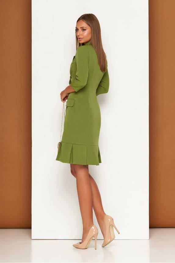 Элегантное платье пиджак в деловом стиле зеленое, фото 2