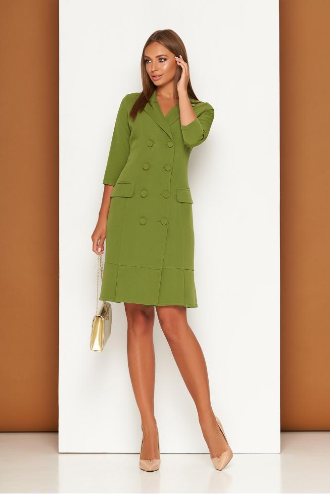 Элегантное платье пиджак в деловом стиле зеленое