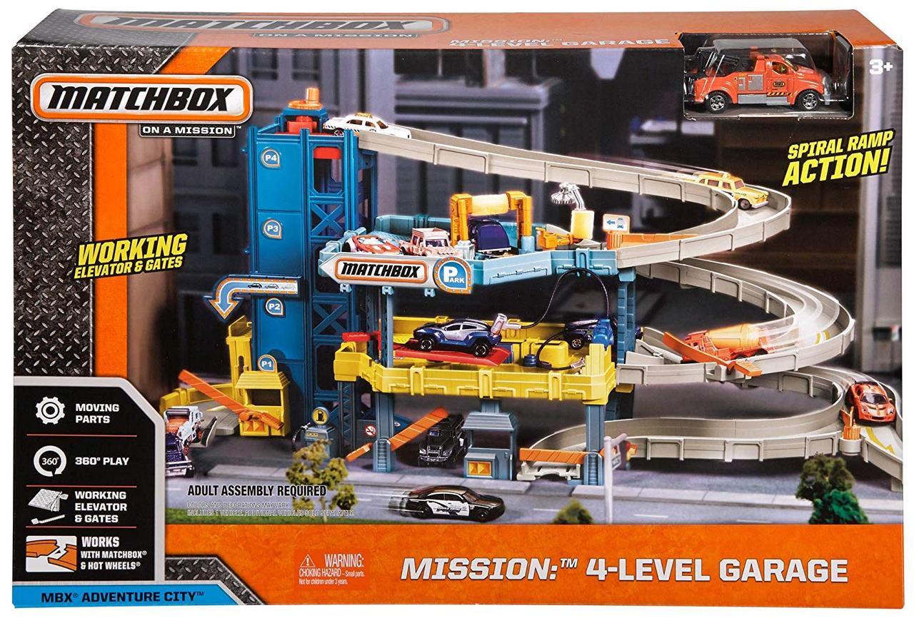Трек Мега Гараж Метчбокс 4 этажа, Matchbox Mission: 4-Level Garage, CJM67