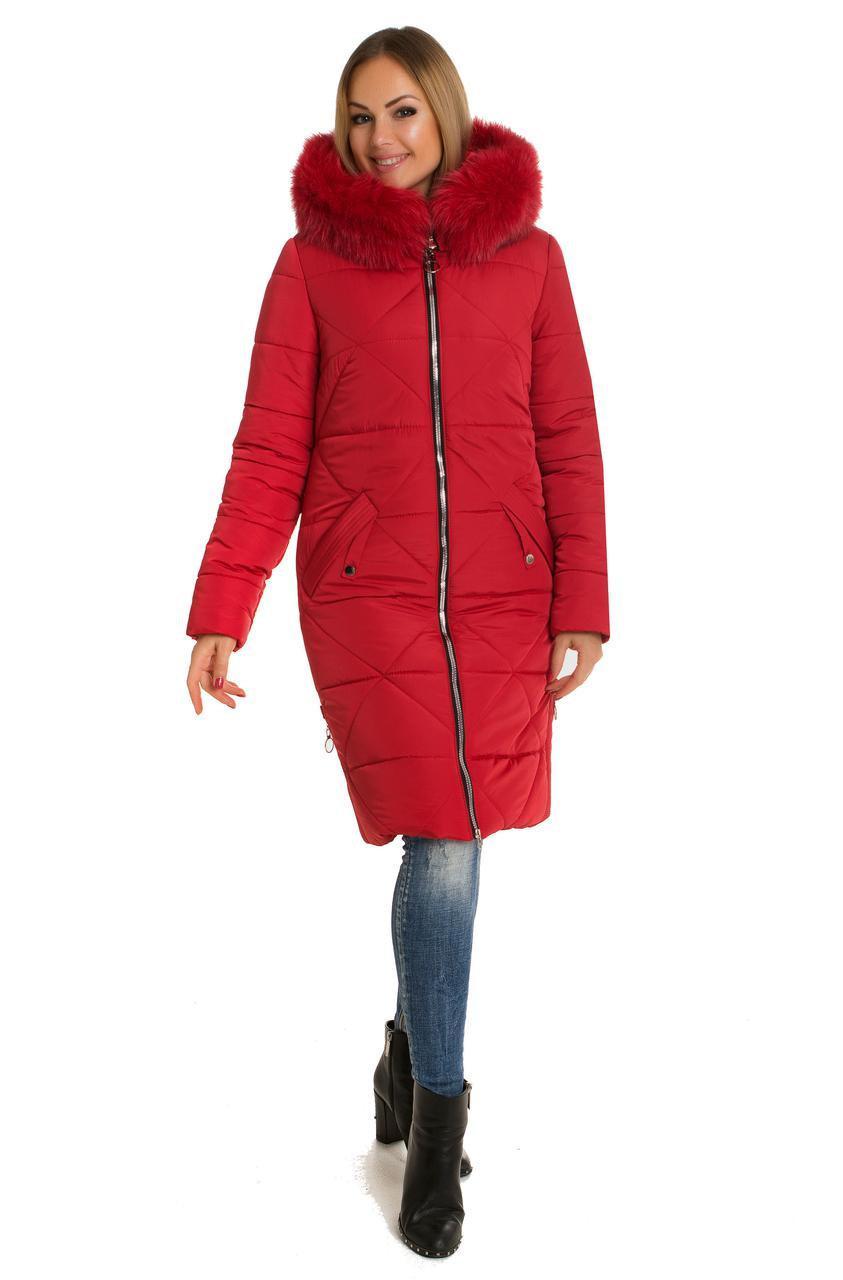 Зимняя женская куртка с мехом 42-60 красный