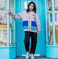 Куртка-ветровка серая с цветными карманами оверсайз женская крутая спортивная от Skatepark Скейтпарк