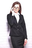 Пиджак женский Классик черный классический однобортный с двумя пуговицами