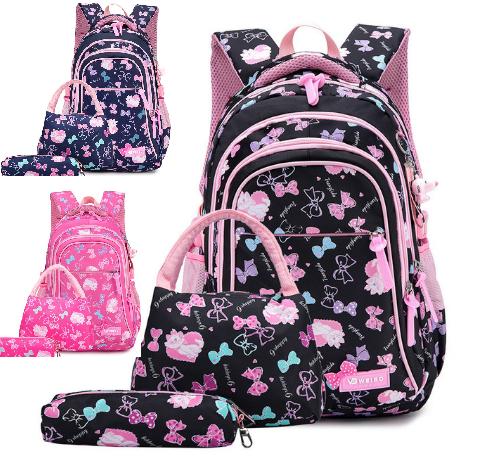 Новинка !!! Рюкзак для девочки школьный розовый Бантики и кошечки Портфель 3 в 1+брелок в подарок.