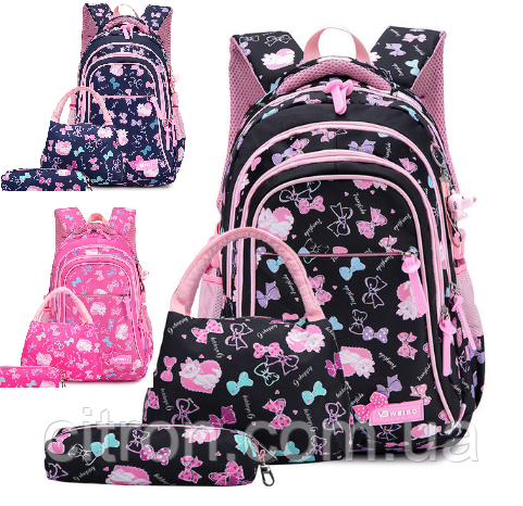Новинка !!! Рюкзак для девочки школьный розовый Бантики и кошечки Портфель 3 в 1+брелок в подарок., фото 1