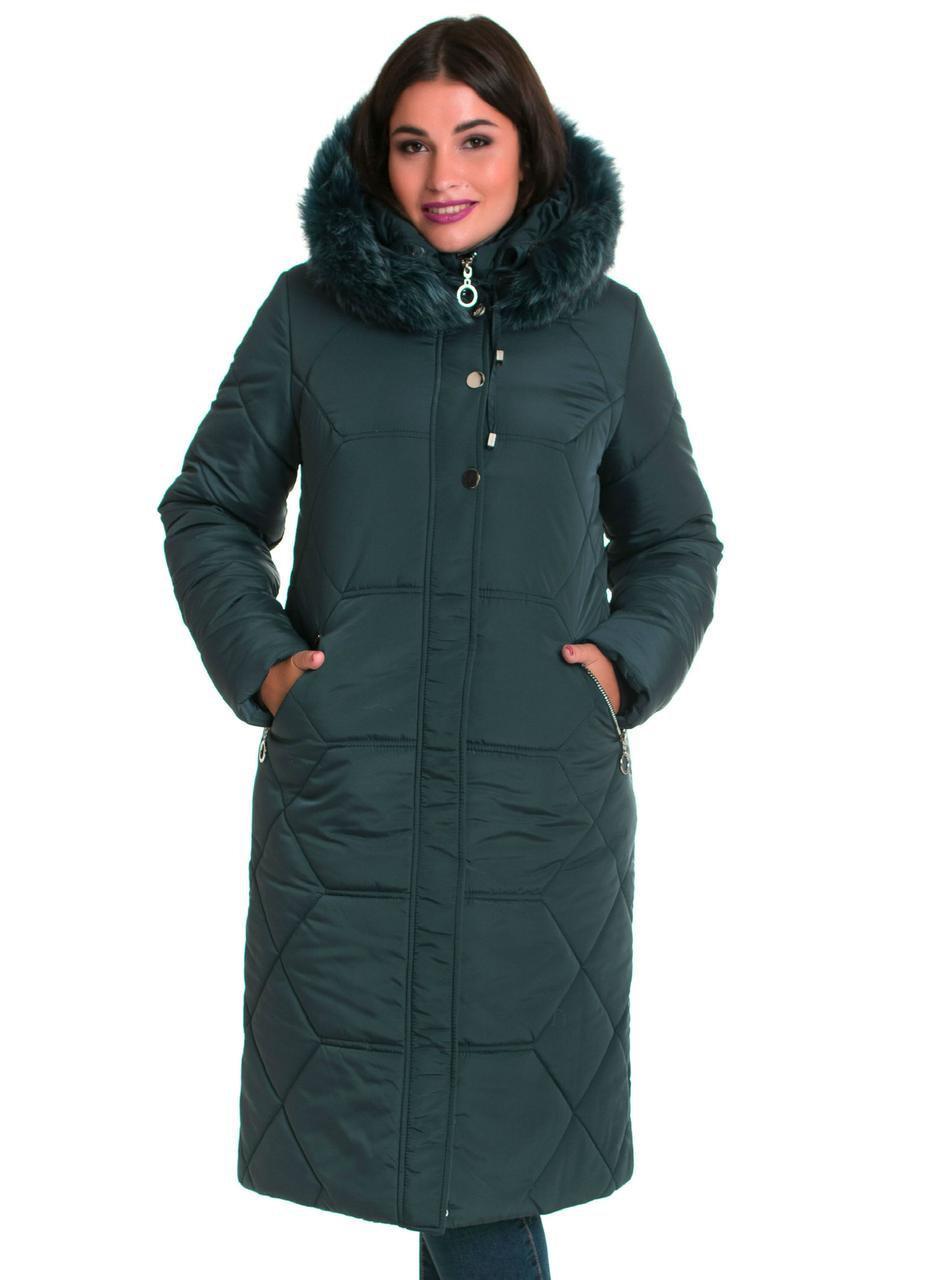 Жіночі куртки зима з хутром 48-66 малахіт