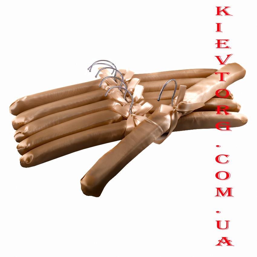 Плечики вешалки тремпели атласные мягкие для деликатных вещей коричневые, 6 шт