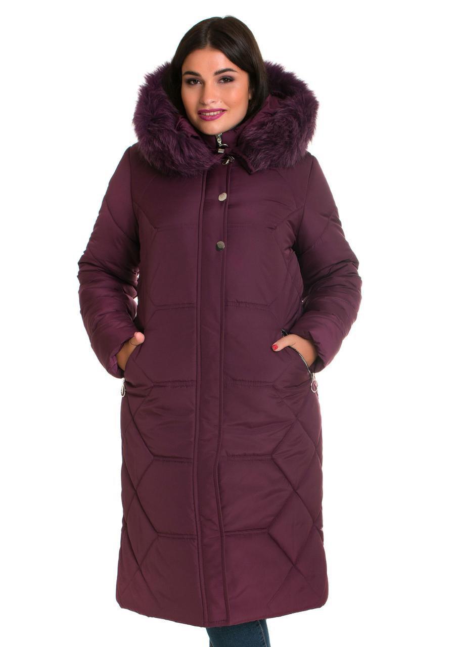 Зимние женские куртки больших размеров  48-66 марсала